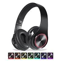 CIC Fones de ouvido Dobrável Bluetooth com Led Brilho 7 Cores Over Ear em Estéreo Sem Fio Cartão TF Portátil Microfone para IOS Android PC TV, Preto