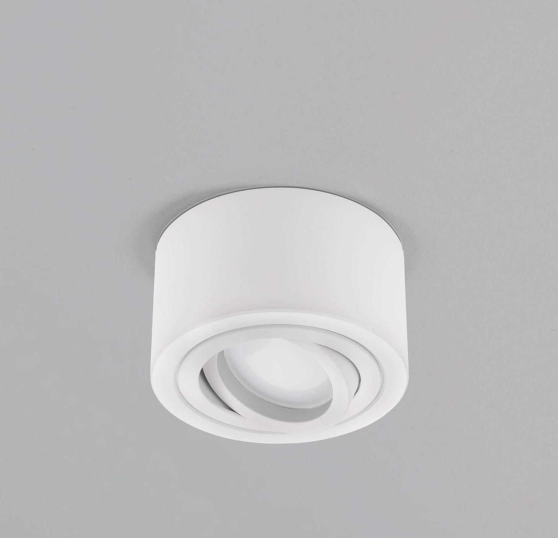 dezente Aufbaustrahler//Deckenspots 230V 5W Spots dimmbar lambado/® Flache LED Aufbauleuchte//Deckenstrahler Set inkl rund, weiss, schwenkbar