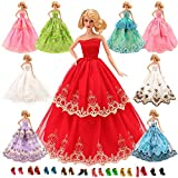 Barwa 15 Items = 5 Pcs Quality Fashion Dresses Clothes 10 Shoes for Barbie Doll Gift