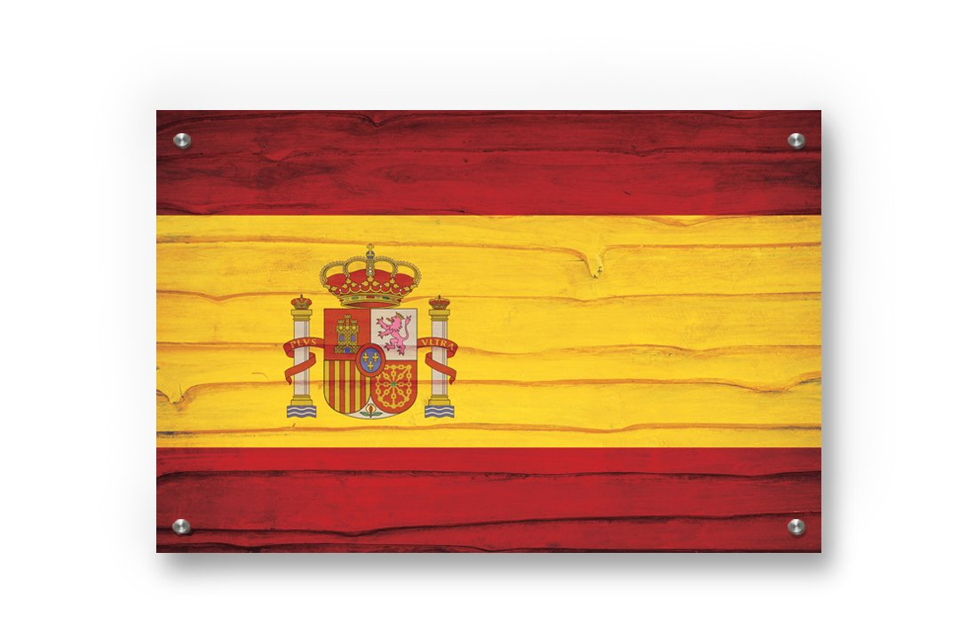 Spain Flag Graffiti Wall Art Printed on Brushed Aluminum by Buttered Kat (X Large (39 x 26 Inches))