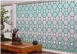 CHOIS Static 528D Cling Vinyl Decorative Privacy Geometric Stain Glass Window Film Sticker 35'' x 1800''