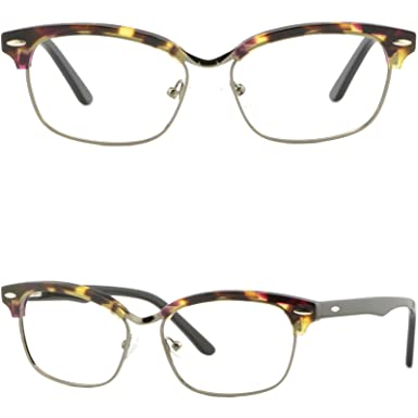 5a9b90f3f17 Image Unavailable. Image not available for. Color  Women Girl Browline Frame  Rectangular Acetate Glasses Spring Hinge Tortoiseshell