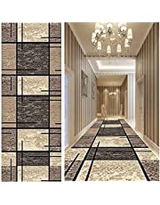 Deheart Runner Rug for Hallway 1.6' x 2', Washable Entry Rugs with Non Slip Rubber Backing, Runner Rug for Hallway, Living Room, Bedroom, and Kitchen, Modern Brown Geometric Lines(133 Sizes)