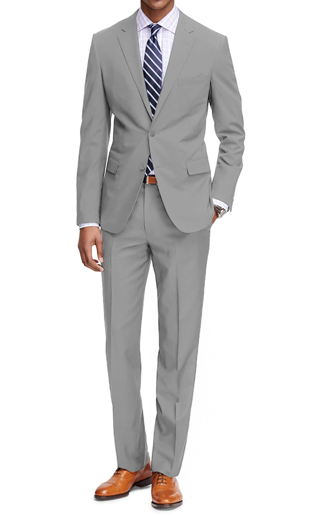 MDRN Uomo Men's Classic Fit 2 Piece Suit, Light Grey, Size 46R/40W