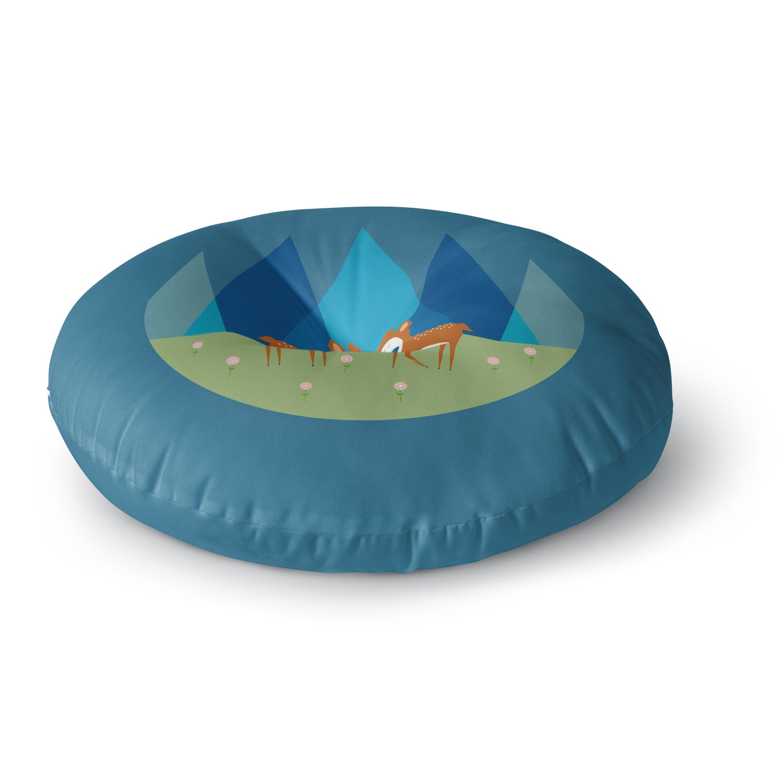 KESS InHouse Cristina Bianco Design Cute Baby Deer Illustration Blue Green Round Floor Pillow, 26''