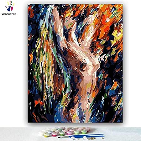 Kykdy Diy Colorings Pictures By Numbers With Colors Abstract Body Art Nude Painting Picture Drawing Painting By Numbers Framed Home 9043 60x75 No Frame Amazon Co Uk Kitchen Home