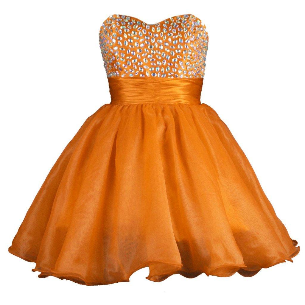 orange Vantexi Women's Organza Short Formal Prom Dress Homecoming Gown