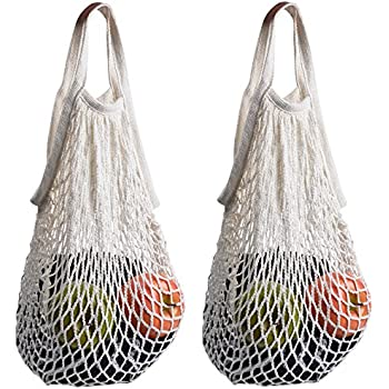 Cosmos ® Pack of 2 Cotton Net Shopping Tote Ecology Market String Bag Organizer (White)