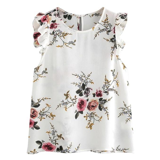 MRULIC Damen Sommerboutique Blumendruck Schmetterlingshülse Bluse ...