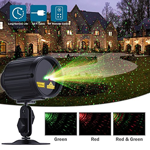Laser Lights LED Projector, 2017 New Star Laser Show Green and Red Light, Outdoor Waterproof Landscape Spotlight with RF Remote Controller for Xmas, Parties, Garden Decoration, - Show Mall