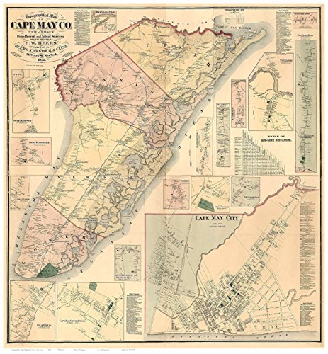 Old Cape (Cape May County New Jersey 1872 - Wall Map with Homeowner Names - Old Map Reprint)