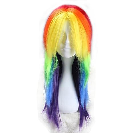 Lisanyeu - Peluca larga recta para mujer, disfraz de unicornio