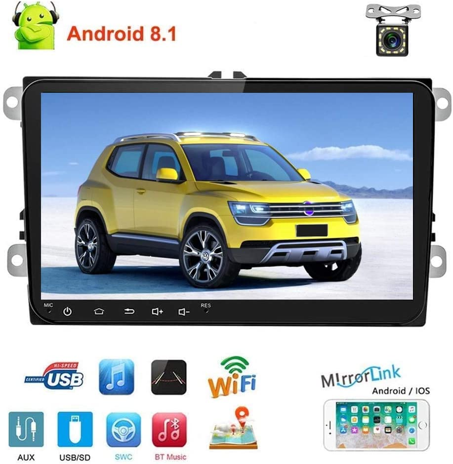 "Double Din Car Stereo Android 8.1 Car Radio for VW Passat Golf Jetta T5 EOS Polo Tiguan Touran Seat Sharan Skoda 9"" Indash Touch Screen Bluetooth Head Unit 1+16G GPS Navigation WiFi Backup Camera DVR"