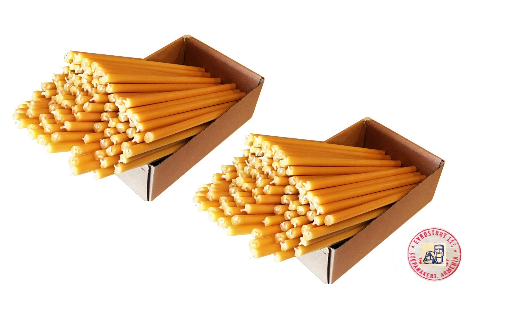 ARTSAKH 200 8'' Inch All Natural Bee-Wax Church Candles (8'' x 5/16'' Inch) Natural Honey Cent, Total Wt 4 Lb or 1 kg 814 gr.