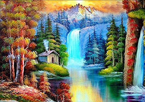 - DIY 5D Diamond Painting by Number Kits, Full Drill Crystal Rhinestone Embroidery Pictures Arts Craft for Home Wall Decor Gift (Autumn thick, 11.8x15.7inch)