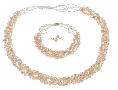 TreasureBay Elegant 7-8mm Pink Freshwater Pearl necklace, bracelet and earrings, Pearl jewellery set