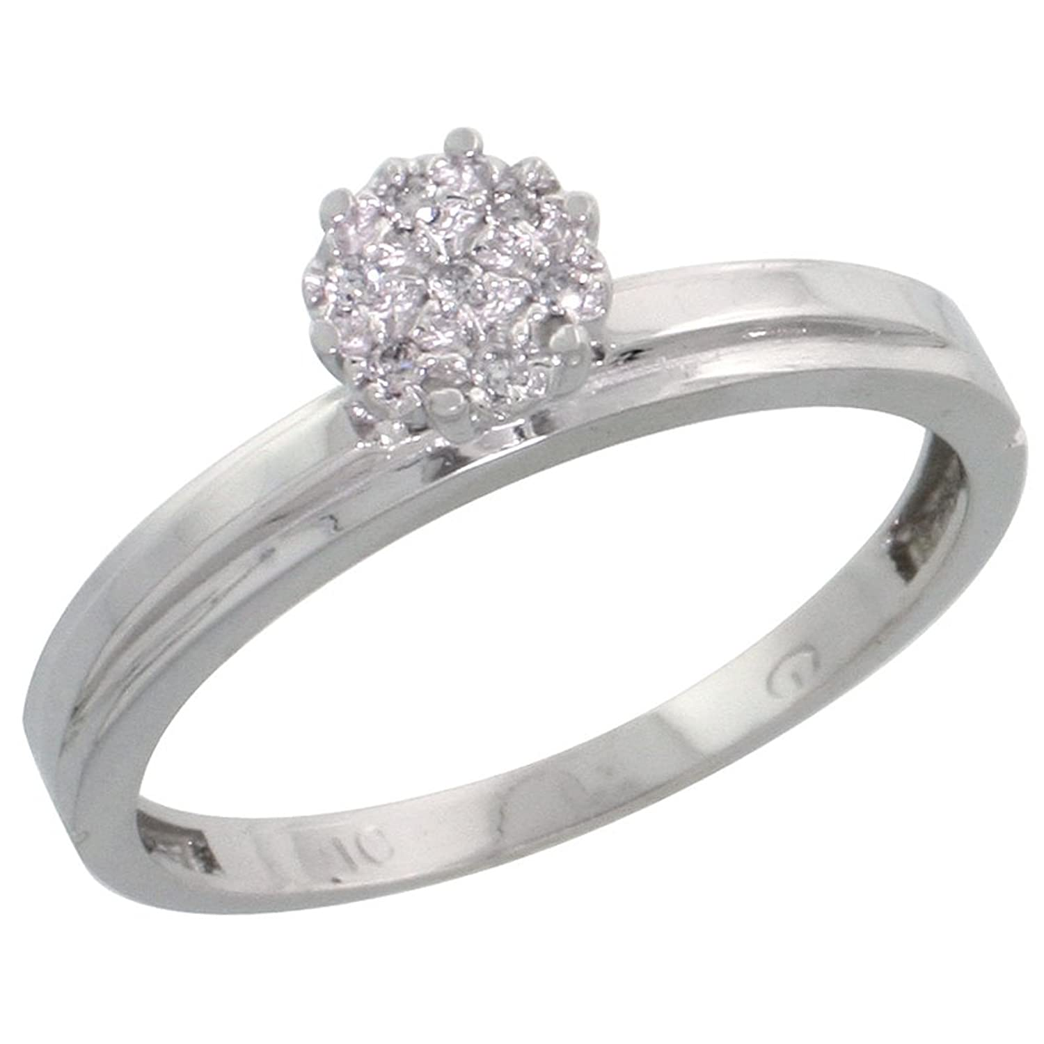 10k White Gold Diamond Engagement Ring 0.05 cttw Brilliant Cut, 1/8 inch 3mm wide