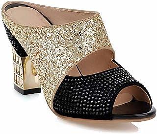 GLTER Sandali Peep Toe donna Hollow 2018 Estate New Fashion Paillettes Mules Pantofole da esterno Large Size 40-43