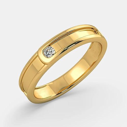 Anillos de boda de diamante natural redondo de 0,10 quilates para hombre de oro