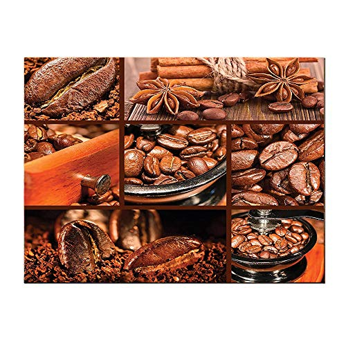 SATVSHOP Art Work painting-48Lx24W-Brown Antique Grinder Coffee Beans Chocolate Cocoa and Cinnamon Vintage Macro Collage Brown Orange.Self-Adhesive backplane/Detachable Modern Decorative Art.