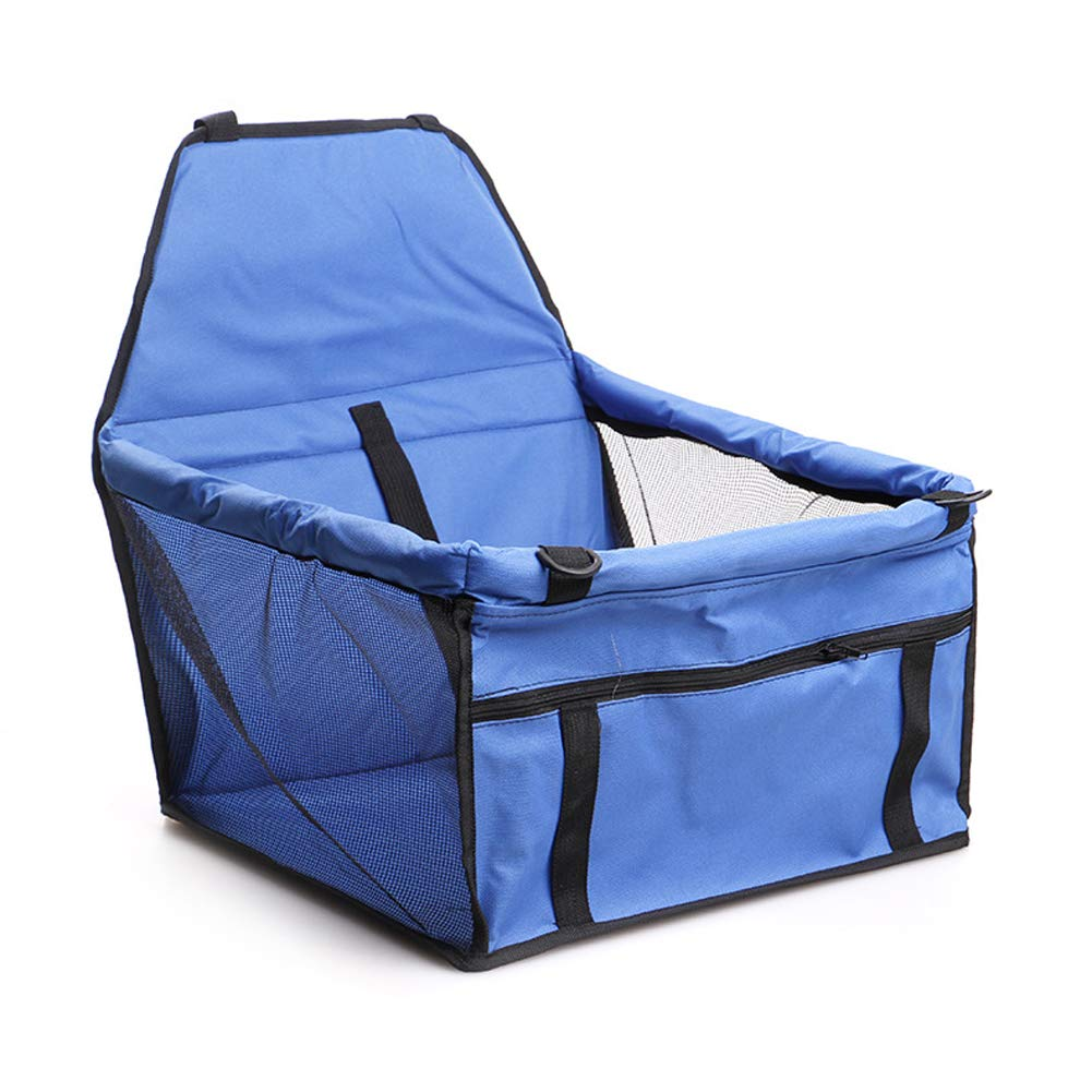 Easy Folding Dog Cat Puppy Pet Car Booster Seat Travel Carrier Bag Cage Deluxe Portable with Clip-on Safety Leash (bluee)