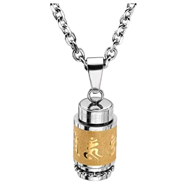 Jovivi stainless steel buddhist om mani padme hum prayer wheel jovivi stainless steel buddhist om mani padme hum prayer wheel mantra bottle keepsake urn necklace memorial mozeypictures Gallery