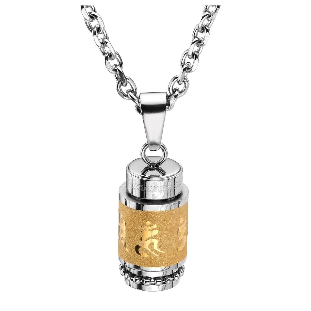 Jovivi Stainless Steel Buddhist Om Mani Padme Hum Prayer Wheel Bottle Keepsake Urn Necklace Memorial Jewelry