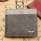 ELEGIANT Kingso Men's Leather Bifold Wallet ID Business Credit Card Holder Purse Clutch Pockets Grey