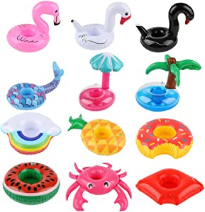 JARCOLD 12 Pack Inflatable Drink Holder, Inflatable Drink Floats, 12 Different Shape Inflatable Cup Coasters for Pool Party and Kids Fun Bath Toys