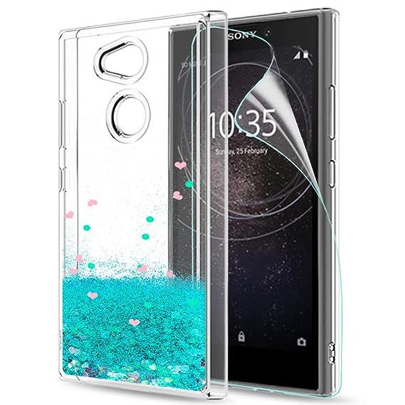 LeYi Funda Sony Xperia L2 Silicona Purpurina Carcasa con HD Protectores de Pantalla,Transparente Cristal Bumper Telefono Gel TPU Fundas Case Cover para ...