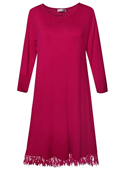 2a721a2ec07 Plus Size Women s Long Sleeve Casual Loose T Shirt Dress (Amaranth Red ...