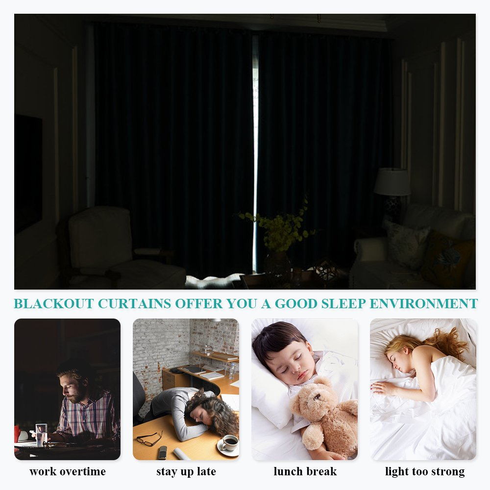 NICETOWN Greyish White Window Curtain Panels - Thermal Insulated Rod Pocket Room Darkening Curtain Sets for Bedroom (Platinum - Greyish White,2 Panels,42 by 45) by NICETOWN (Image #6)