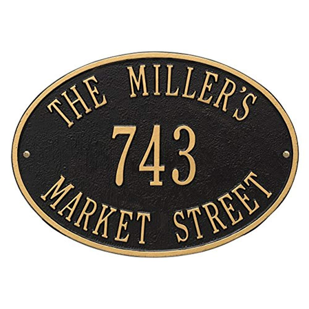 Oval Hawthorne Standard Wall 3-Line Address Plaque - Black/Gold Whitehall Products 2918BG