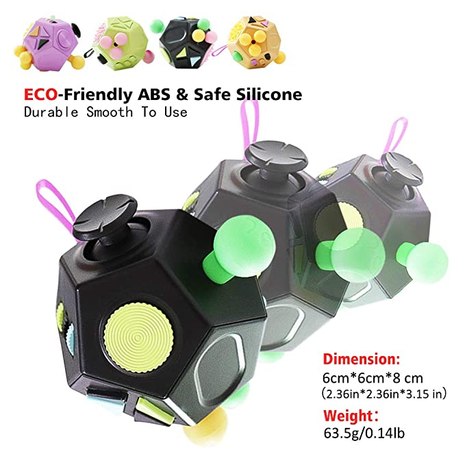 1c007016cf5f6 VCOSTORE 12 Sided Fidget Cube, Dodecagon Fidget Toy for Children and  Adults, Stress and Anxiety Relief Depression Anti for All Ages with ADHD  ADD OCD ...