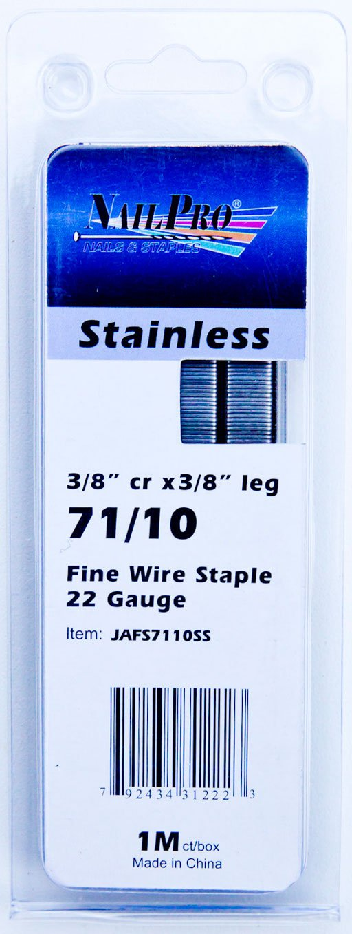 NailPRO 71/10SS 22 Ga 3/8'' Leg x 3/8'' Crown Stainless Steel Fine Wire Staples, 1000 Count