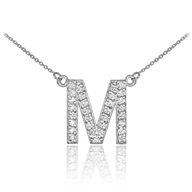 14k white gold diamond letter m initial pendant necklace 16