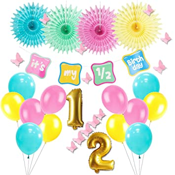 Easy Joy Its My 1 2 Birthday Party Decoration Half Year Old Banner Tissue Paper