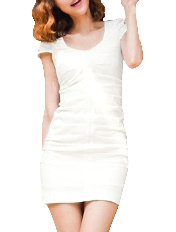 Lady Scoop Neck Cap Sleeve Hidden Zipper Back Ruched Detail Mini Dress