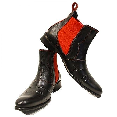 Modello Loretto - Cuero Italiano Hecho A Mano Hombre Piel Rojo Chelsea Botas Botines - Cuero Cuero Suave - Ponerse: Amazon.es: Zapatos y complementos