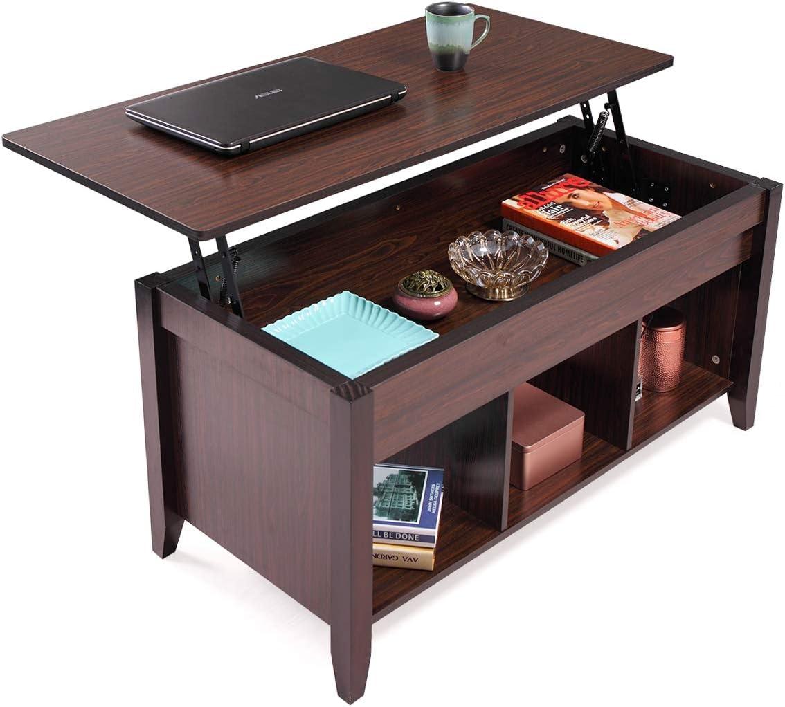 Amazon Com Modern Wood Lift Top Coffee Table Living Room Office W Hidden Storage Lift Tabletop Black Walnut Kitchen Dining