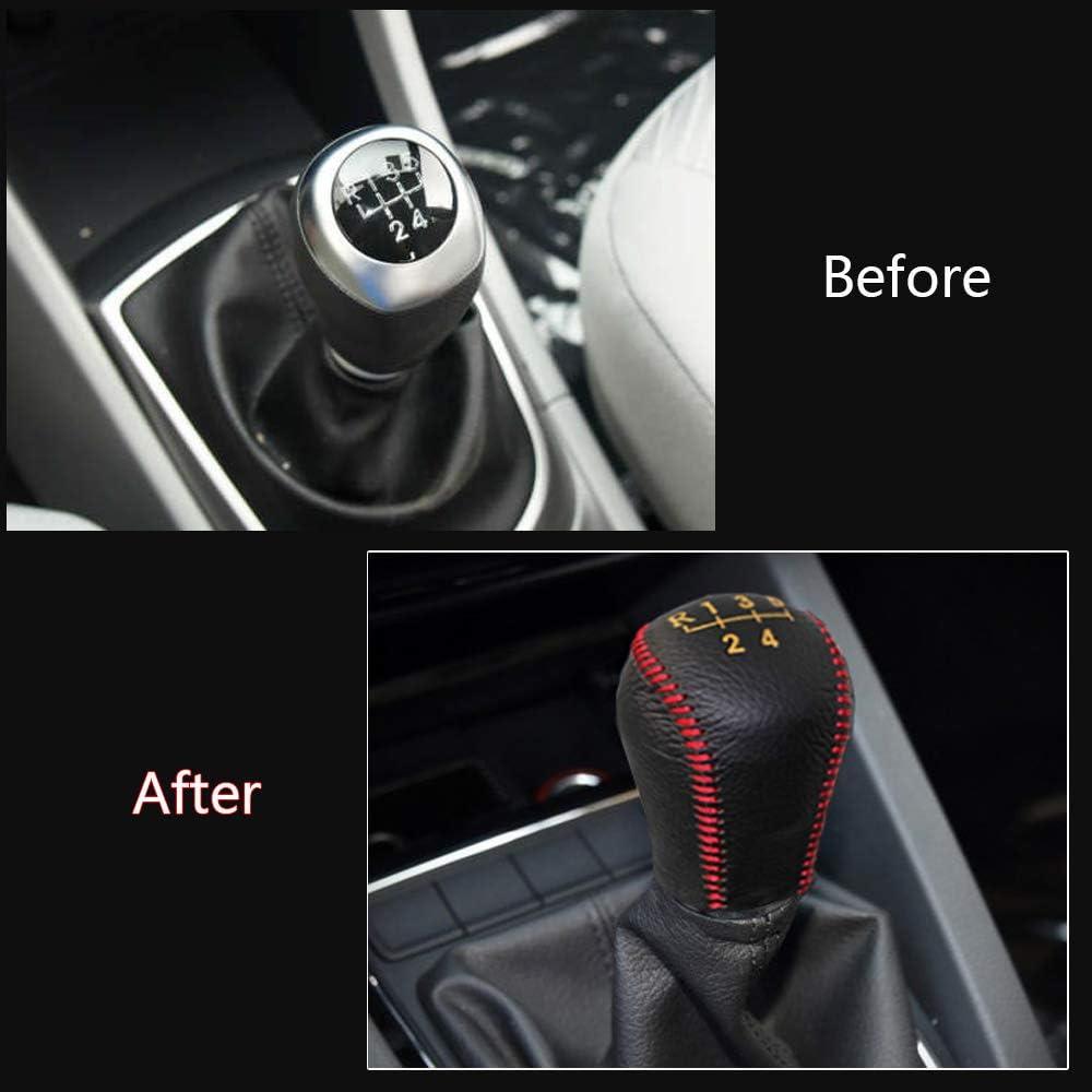 Funda de Palanca de Cambios de Cuero Protector para IX35 2010-2015 automatico pomos Palanca de Cambios DSG Shifter con Costuras en Rojo Tipo M
