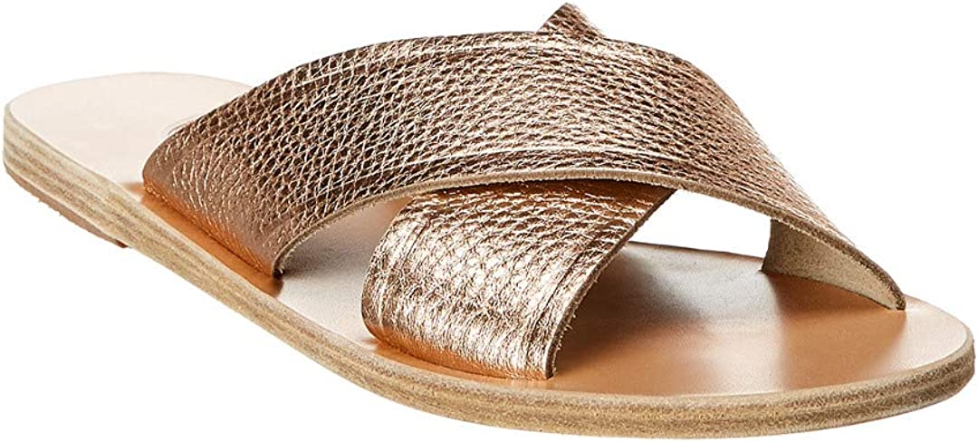 Ancient Greek Sandals Thais Leather Gold Pink Slippers