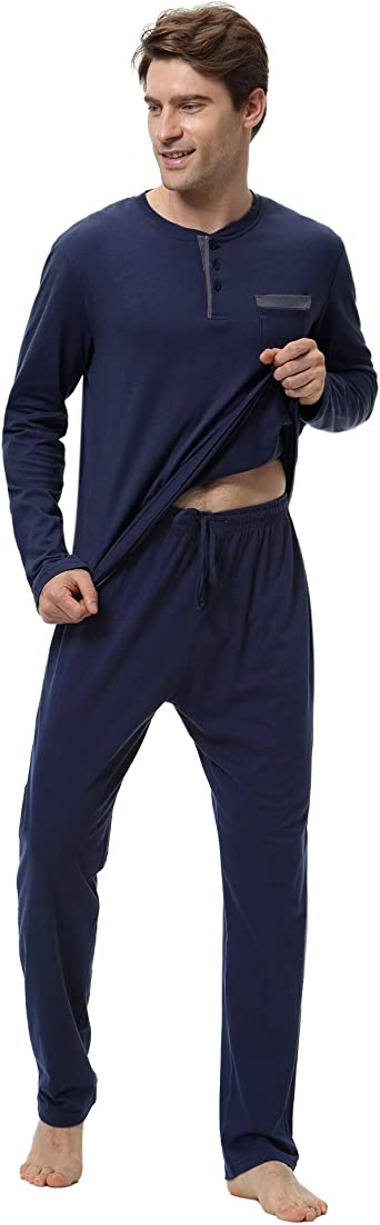 Aibrou 100% Algodón Pijamas Hombre Invierno Mangas Largas Pantalones Largo, Simple y Cómodo: Amazon.es: Ropa y accesorios