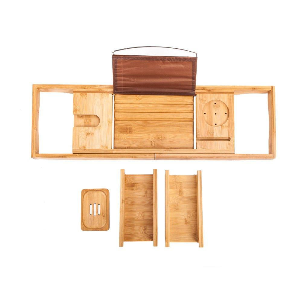 Crazyworld Wood Color Bathtub Rack 100% Natural Premium Bamboo Extendable Tray Extending Sides Book Phone Holder Portable and Flexible.