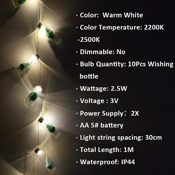 iShine Decoración de Navidad 10 LED Luz Cadena String Lights ...