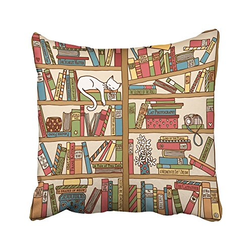Emvency Decorative Throw Pillow Covers Cases Colorful Cosy Hand Drawn Bookshelf Sleeping Cat Library Animal Author Book Box Camera Cartoon 16x16 inches Pillowcases Case Cover Cushion Two Sided -