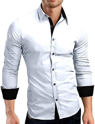 Otoño De Los Hombres Fit Formal Sólido Slim Modernas Casual Camisa De Cuello Alto Camisa Casual Camisa Larga Top Blusa Camisas De Hombre Básico: Amazon.es: Ropa y accesorios