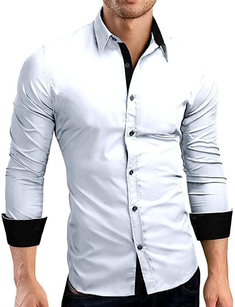 Otoño De Los Hombres Formal Camisa Slim Sólido De Fit Joven Cuello Alto Camisa Casual Camisa Larga Top Blusa Camisas De Hombre Básico (Color : Blanco, Size : M): Amazon.es: Ropa y