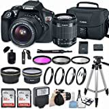 Canon EOS Rebel T6 DSLR Camera with EF-S 18-55mm f/3.5-5.6 IS II Lens & Includes 58mm HD Wide Angle Lens + 2.2x Telephoto + 2Pcs 32GB Sandisk SD Memory + Filter & Macro Kit + Accessories