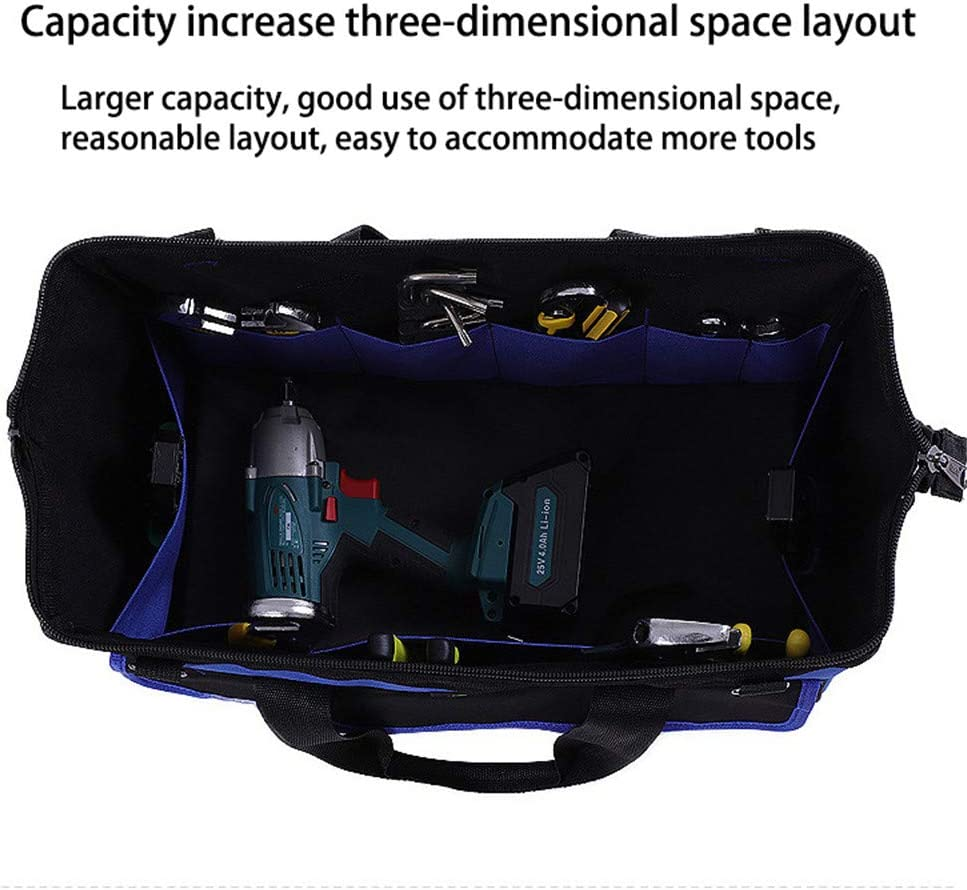Black/&Yellow-19in Tool Bag with Rubber Base High Capacity Heavy Duty Oxford Cloth Waterproof Portable Tool Bag